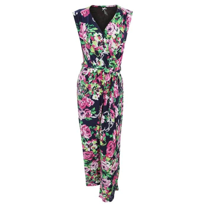 Ladies Rose Print Crossover Jumpsuit