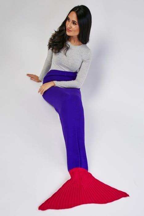 Textured Knit Mermaid Blanket