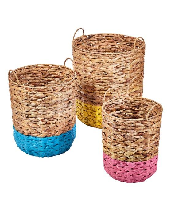 Set of Three Colour Dip Water Hyacinth Storage Baskets £24.00 Was £29.00