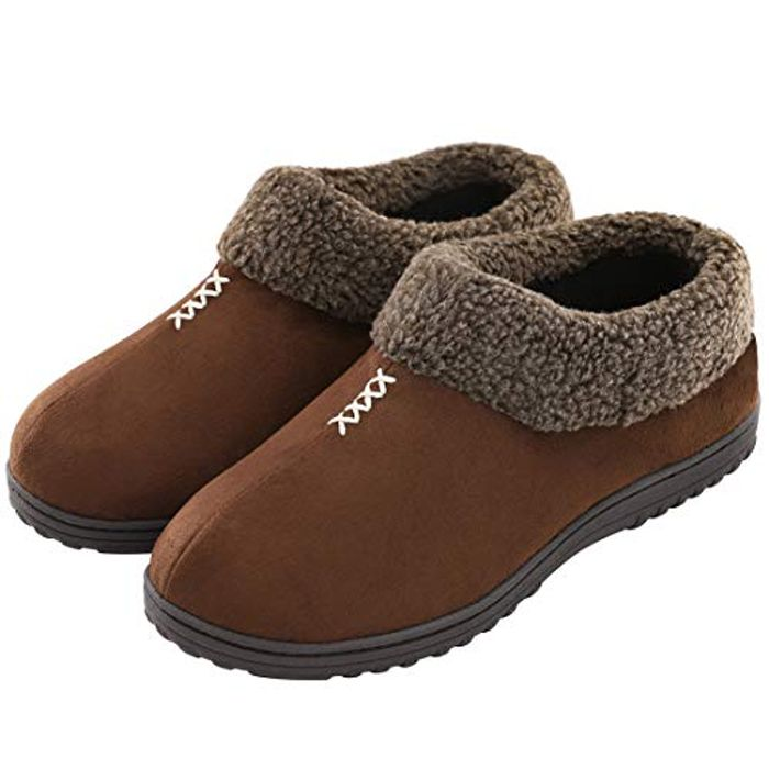 Available Again!! Mens Memory Foam Slippers - Coffee Size 10 Only