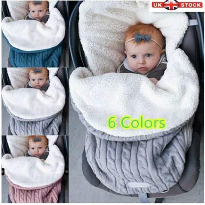Newborn Baby Infant Knit Swaddle Wrap Swaddling Blanket Warm Sleeping Bag Hot UK