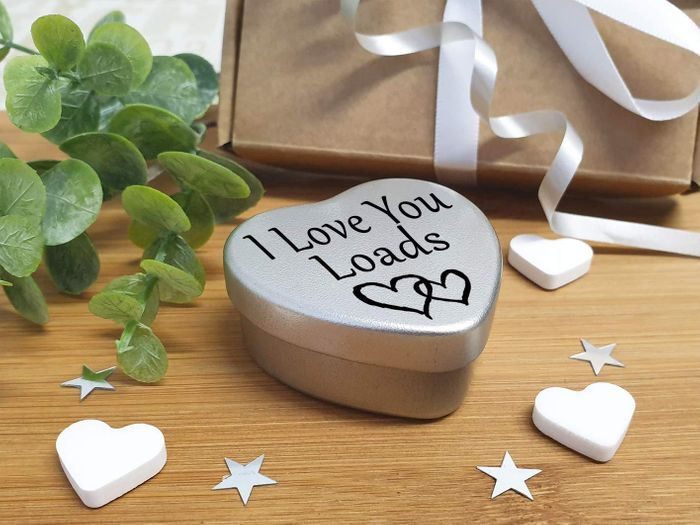 Cheap I Love You Loads - Mini Silver Heart Tin with Sweets, Only £3.99!