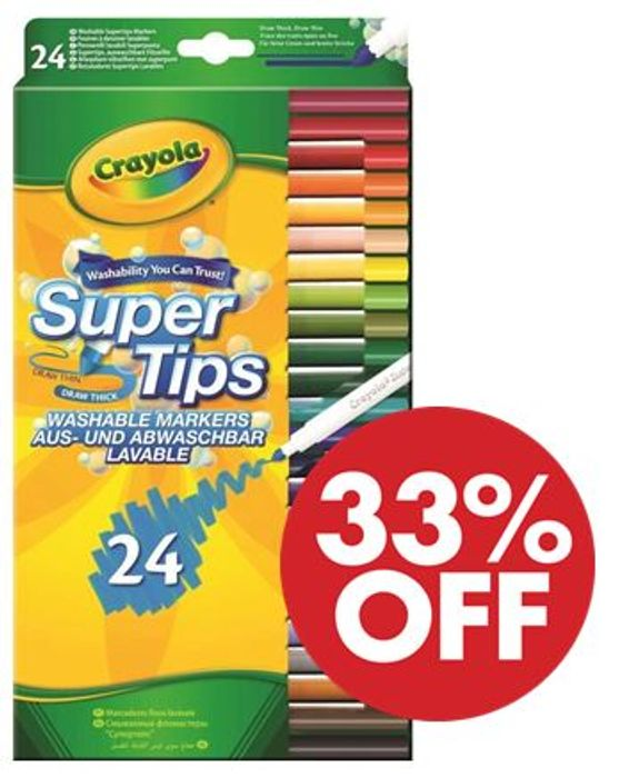 Cheap Crayola SuperTips Washable Felt Tip Colouring Pens (24 PACK), Only £4.5!