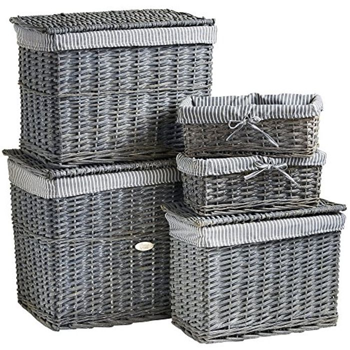 Best Price! Set of 5 Natural Wicker Storage Baskets Only £44.99