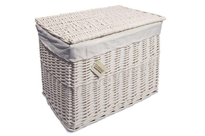 Large White Wicker Storage Basket
