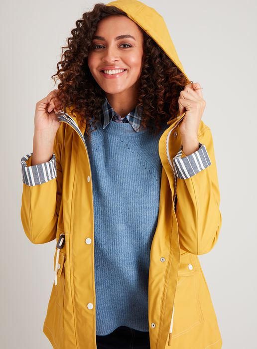 Mustard Rubber Shower Resistant Raincoat - 20% Off!