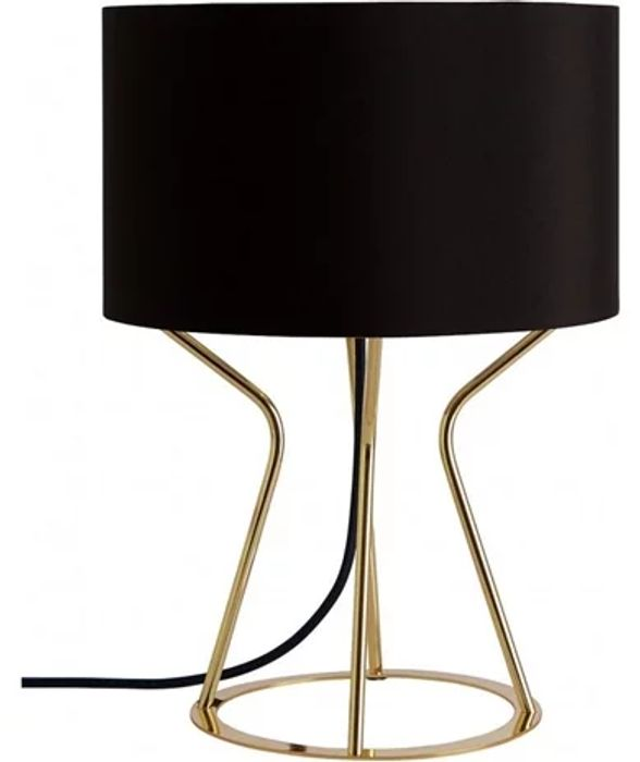 Best Price! Gold Metal Table Lamp with Black Fabric Shade