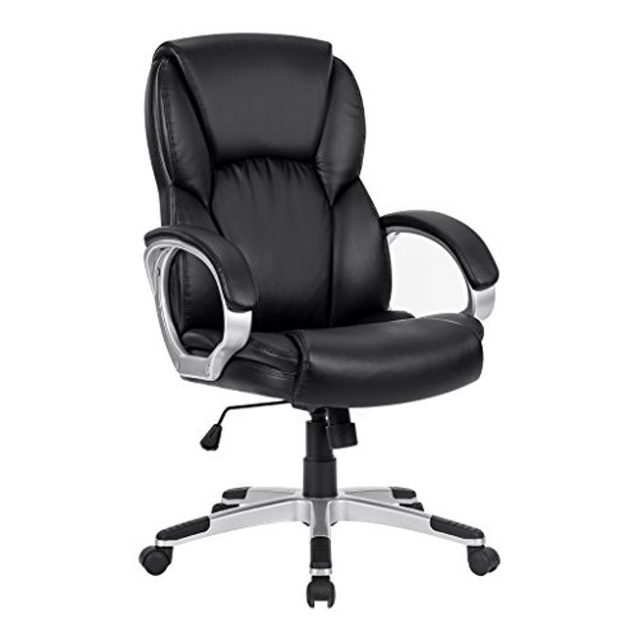 Black Leather Computer Chair with Mid-Back Support - 45% Off!
