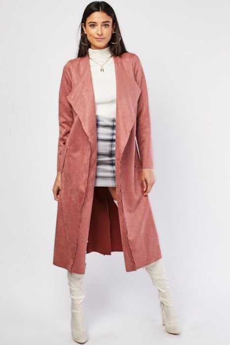Belted Suedette Trench Coat