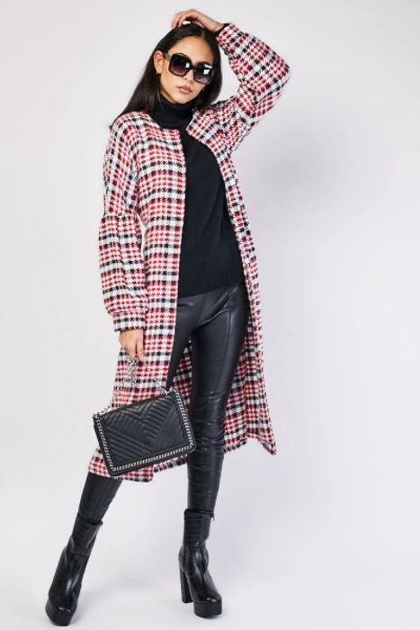 Belted Houndstooth Woven Coat