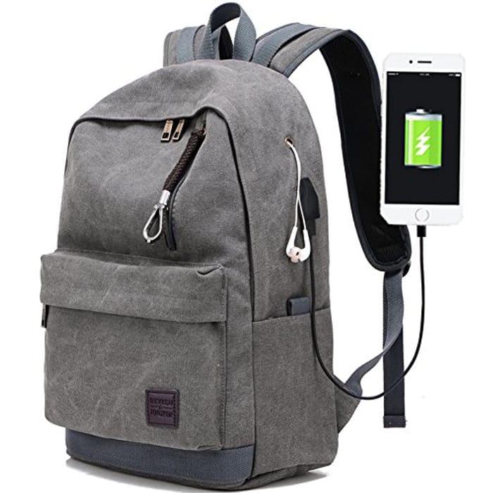 Laptop Backpack for Men Back Pack with USB Charging Port - Save £10!