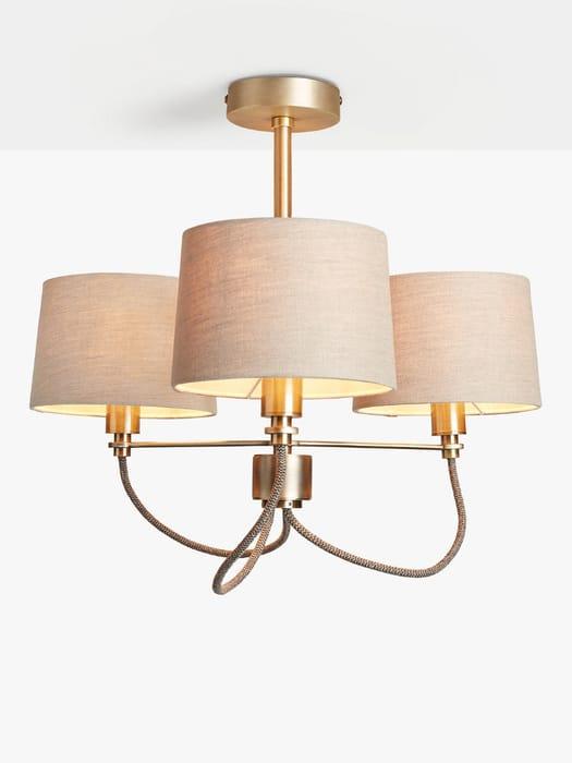 John Lewis & Partners Rufus Semi-Flush Ceiling Light, Antique Brass
