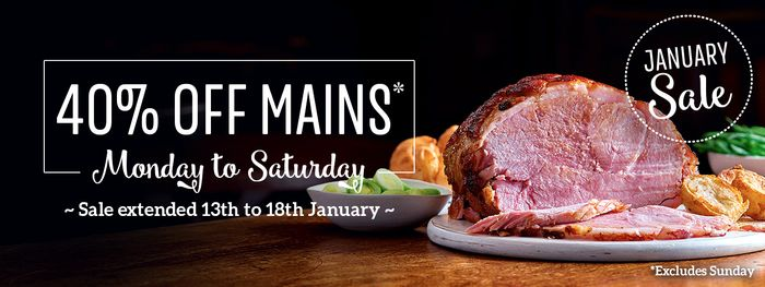 40% off ALL Mains at Toby Carvery - Adult Carvery £4.67 / Kids £2.99