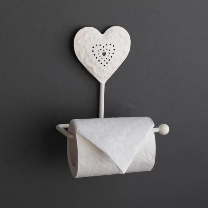 Cream Heart Design Toilet Roll Holder