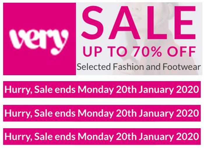 VERY Fashion & Footwear SALE - up to 70% off - ENDS MONDAY!