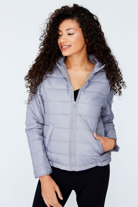 1/2 Price Grey Hooded Puffa Jacket