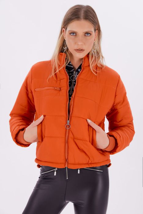 Orange Oversized Short Puffer Jacket