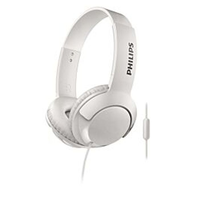 Philips BASS+ Wired Headphones with Mic - White