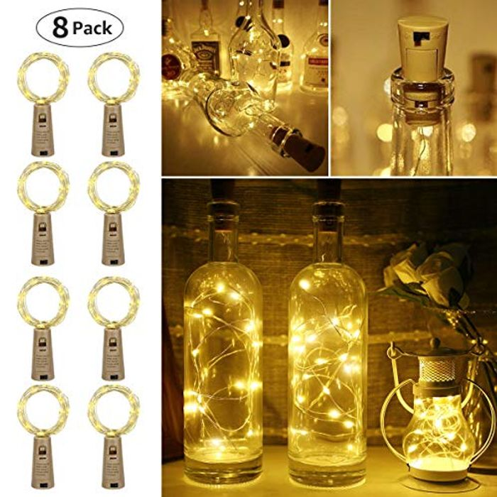 LE Bottle Lights with Cork, 8 Pack 2M 20 LED Battery Powered Fairy Lights