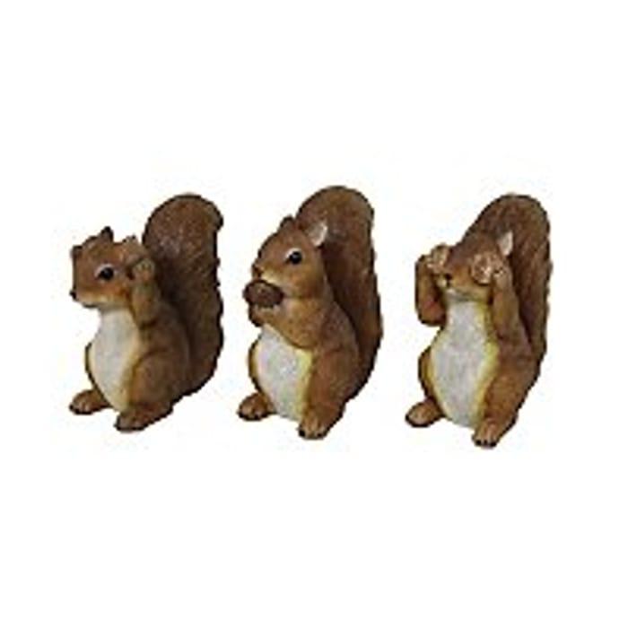 Squirrel Garden Ornaments Set of 3 - HALF PRICE!