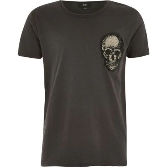 Boys Grey Skull Embellished T-Shirt