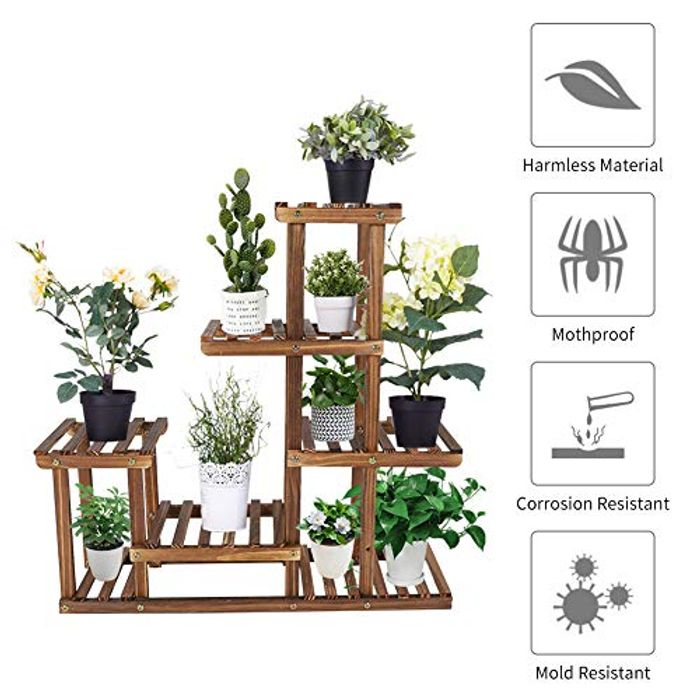 Greensen Wooden Plant Flower Shelf