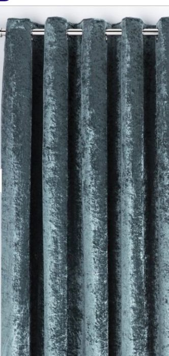Crushed Velvet Lined Curtains - Green - Only £9.99!