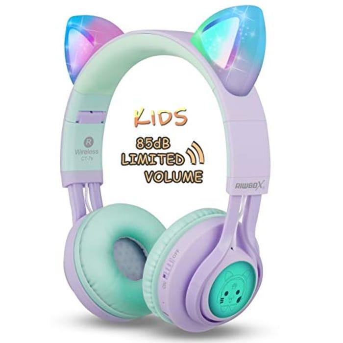 Kids Cat Ear Bluetooth Headphones, Riwbox CT-7S