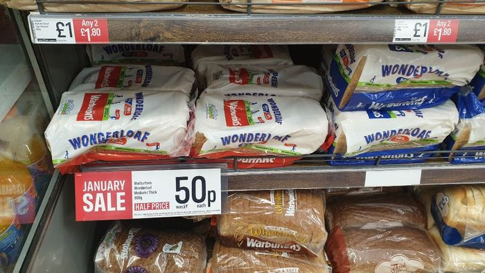 Warbutons Bread 50p a Loaf