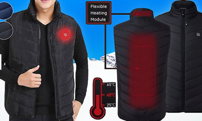 USB Electric Heated Padded Gilet - 6 Sizes & 2 Colours £18 +P&P
