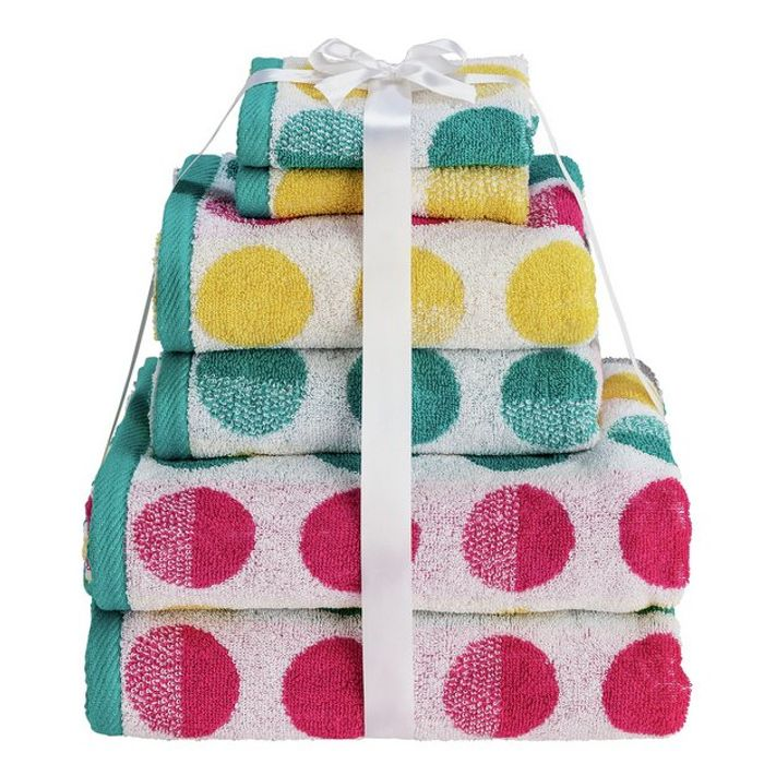 Argos Home 6 Piece Towel Bale, Spots - Save £7.68