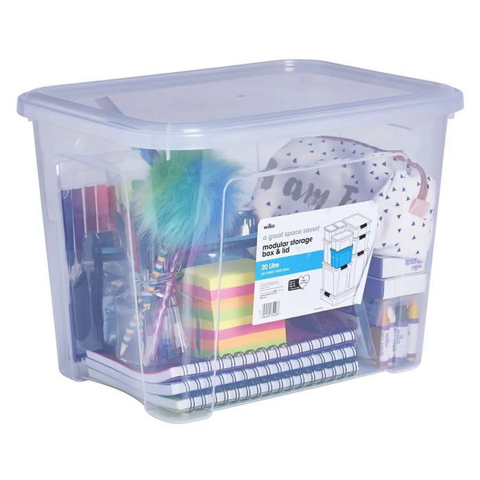 Best Price! Wilko Modular 20L Storage Box with Lid On Sale From £4 to £2.5