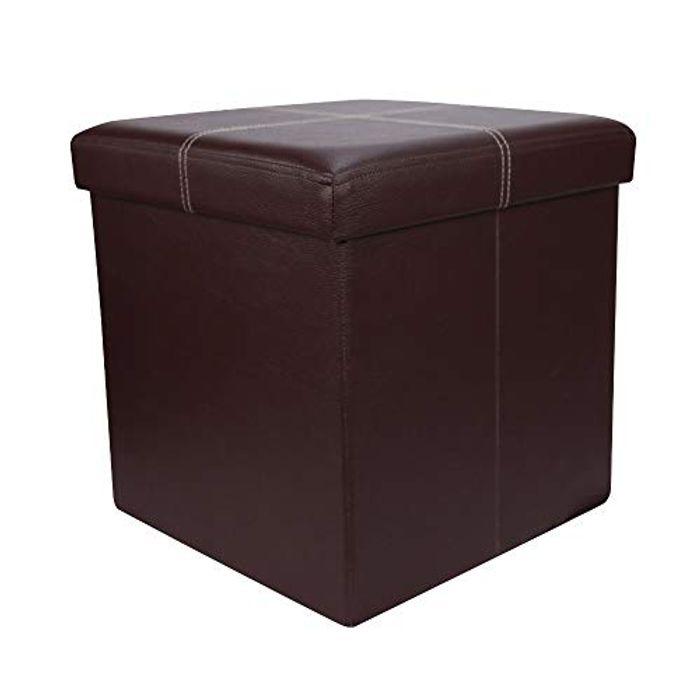 Home Source Folding Ottoman Brown Faux Leather