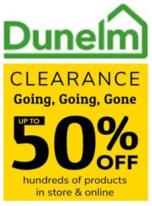 Dunelm CLEARANCE SALE with 50% Discount