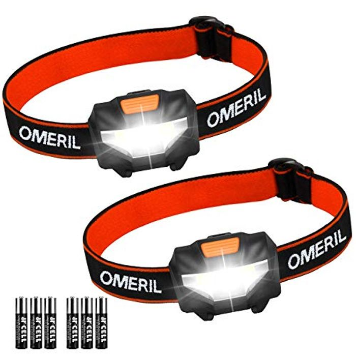 LED Head Torch, [2 Pack] Super Bright Headlamps with 3 Modes, 150 Lumens