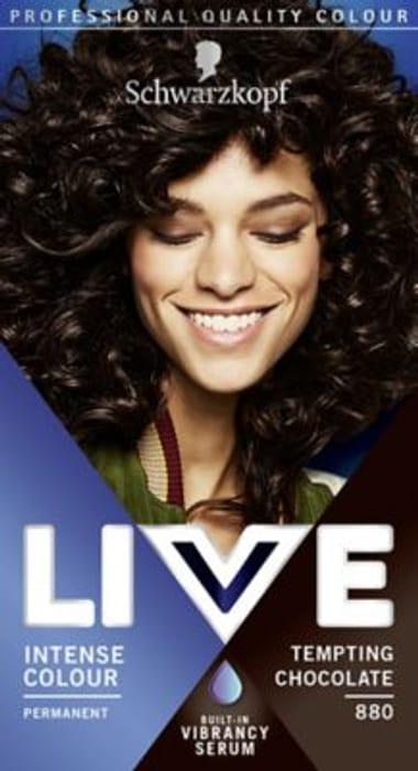 Schwarzkopf LIVE Tempting Chocolate 880 Permanent Hair Dye. £1.38 Boots (Leeds)