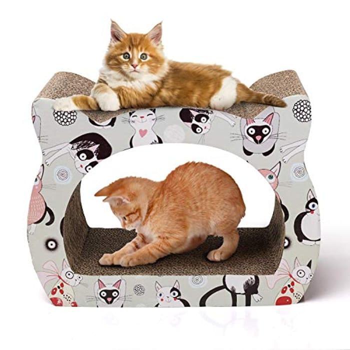 Cat Scratch Post Scratching Board Lounge Cardboard Scratcher with Catnip