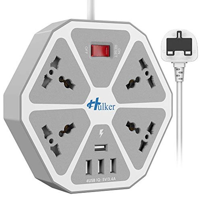 HULKER Extension Lead with USB Slots 4 Way Outlets