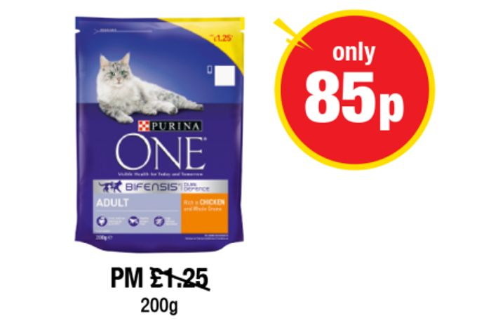 Adult Purina One Chicken and Whole Grains Cat Food 85p 200g