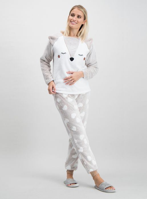 Light Brown Fox Top & Bottoms Fluffy Pyjama Set