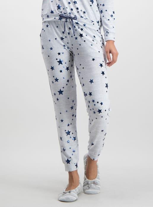 Grey Marl & Navy Star Print Pyjama Bottoms