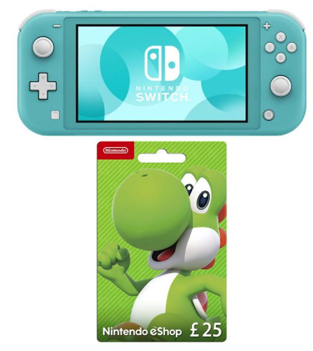 Cheap NINTENDO Switch Lite & eShop £25 Gift Card Bundle - Turquoise Only £204