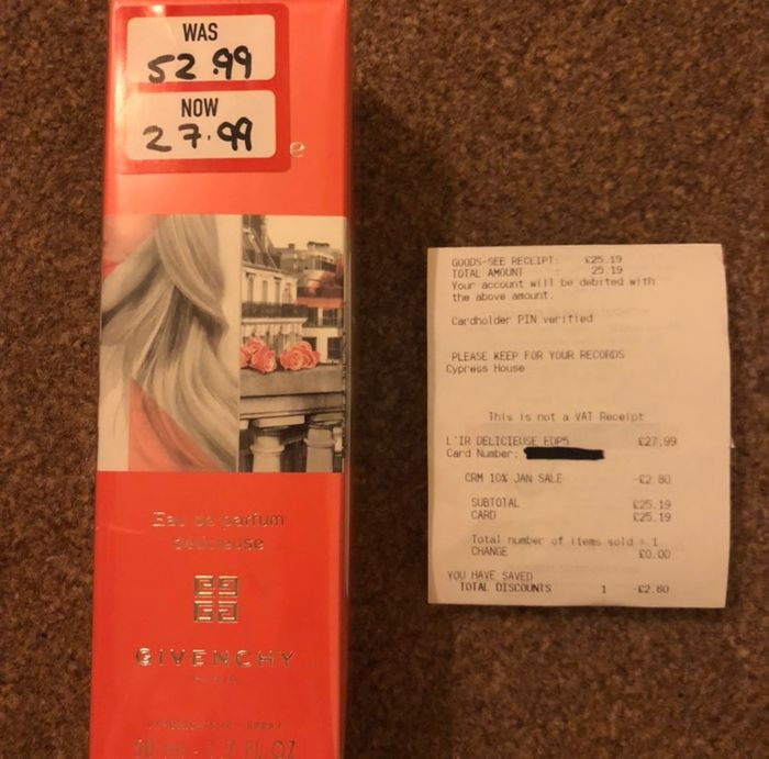 Givenchy Dlicieuse EDP 50ml £25.19 at the Perfume Shop (Leeds)