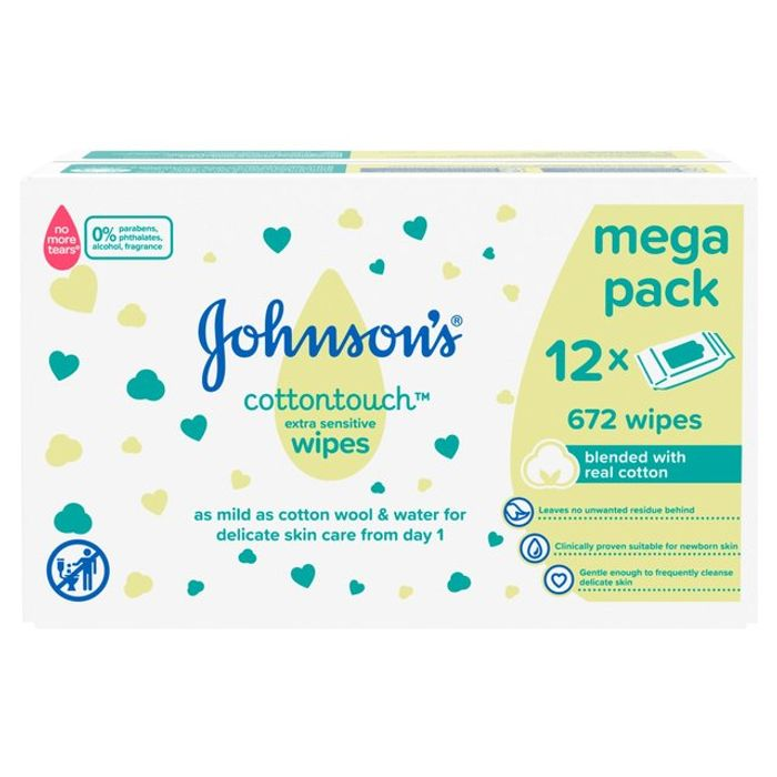 Johnsons Cottontouch Extra Sensitive Wipes 12 X 56 per Pack