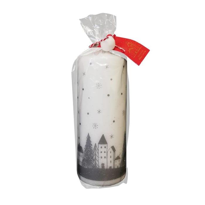 White & Silver Pillar Candle 18 X 7cm