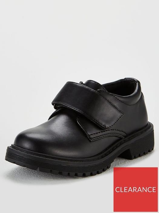 V by Very Boys George Chunky Velcro Strap School Shoes - Black