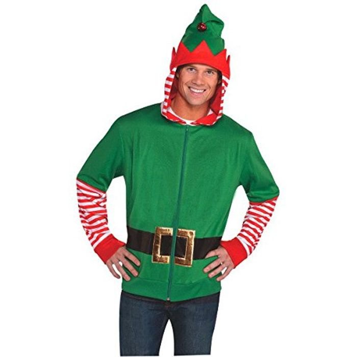 Christmas and Holiday Party Elf Hoodie , Red/Green