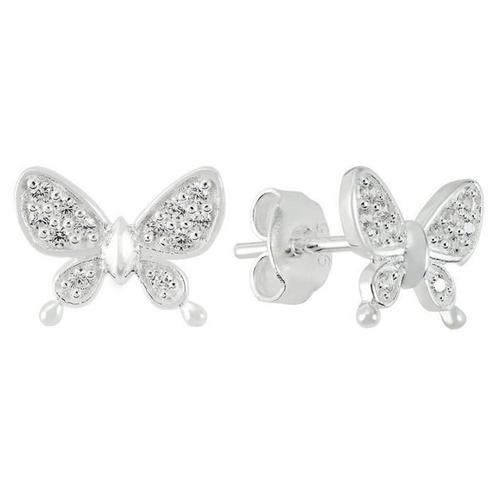 Cheap Revere Sterling Silver CZ Butterfly Stud Earrings - Save £3!