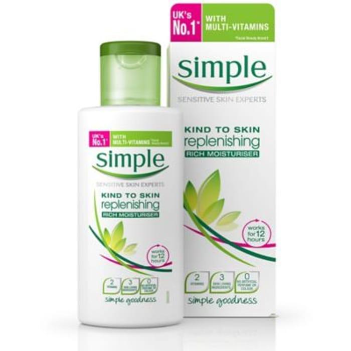 Simple Kind to Skin Rich Moisturiser Replenishing 125ml
