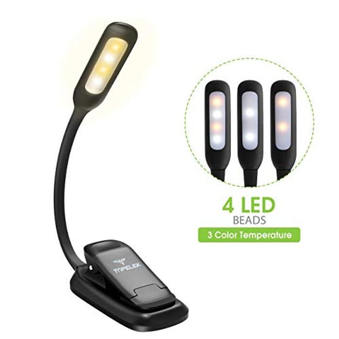 TOPELEK Reading Light, 4 LED 3 Brightness Modes